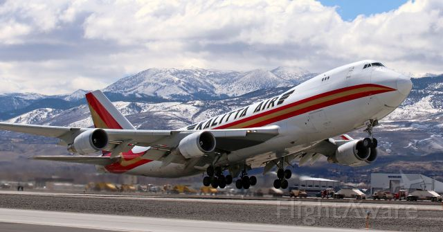 Boeing 747-400 (N403KZ) - The second Kalitta Air B744 to visit Reno in 8 days, N403KZ, is shown here as it lifts away from Runway 34R enroute to Anchorage (PANC).