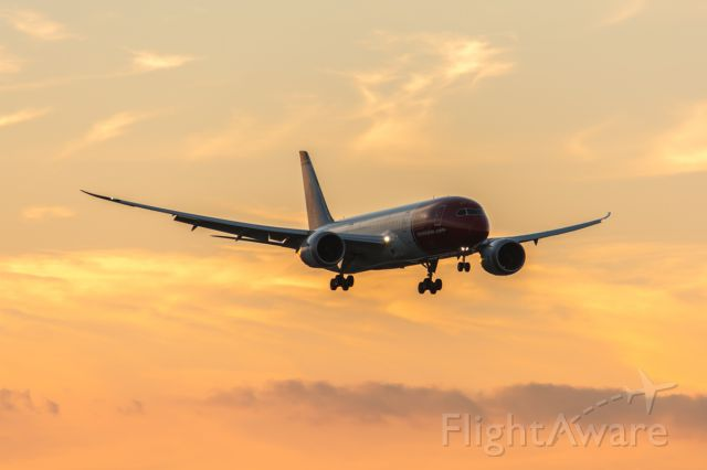 Boeing 787-8 (EI-LNB) - Norwegian Shuttle on short final to rwy 10L at KFLL at sunset. (4-6-14)