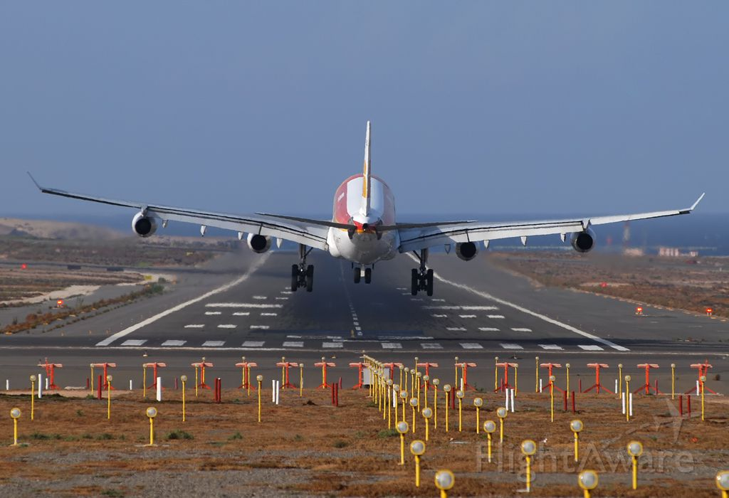 Airbus A340-300 — - Landing on runway 03L.