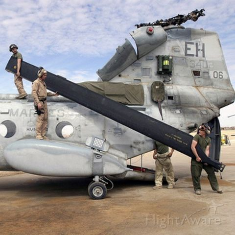 Boeing CH-47 Chinook — - How many Marines does it take to change a rotor blade?