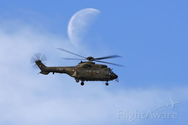 TUSAS Cougar (T313) - Flying to the moon.... Eurocopter AS532 Cougar - Swiss Airforce - Axalp shooting range