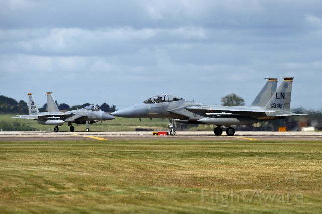 McDonnell Douglas F-15 Eagle — - Holding short at RAF Lakenheath, UK