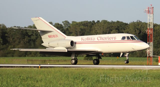 Dassault Falcon 20 (N808CK) - A 1967 model Dassault / SUD fan Jet Falcon arriving Pryor Regional Airport, Decatur, AL - late in the afternoon of September 4, 2020.