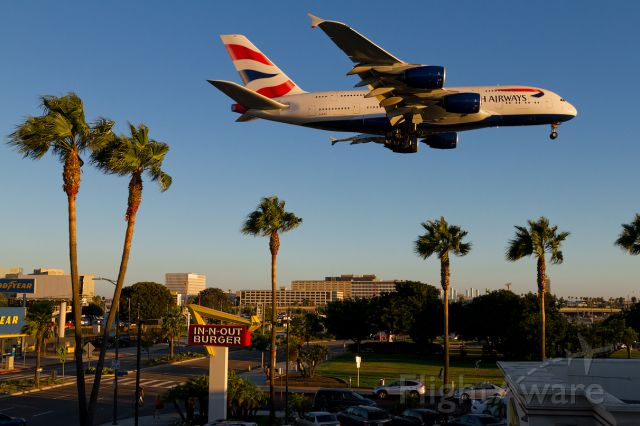 Airbus A380-800 (G-XLEA) - Here we see BA269 on short final for 24R passing the In N Out and park on a beautiful summers eve.