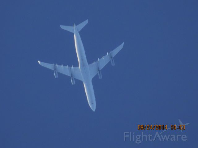 Airbus A340-300 (D-AIGN) - Lufthansa flight 439 from Dallas/Fort Worth to Frankfurt over Baxter Springs Kansas at 35,000 feet.
