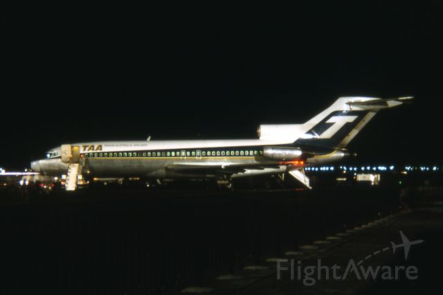 Boeing 727-100 (VH-TJA) - I reckoned this to be 1971 at first but could be 72 and would have been in our summer. It was taken on a Kodak Instamatic and there's no trick to it. The camera was an innovation by Kodak that gave beginners a chance at time exposure. Can recall having a tripod hardly more the 3 sticks with a mount on them, but it did the job for very lightweight cameras.