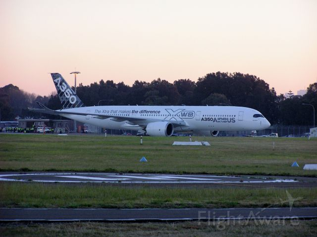 F-WWYB — - This is my first view of the new Airbus A350 is in Sydney Australia & put on display for all to see Tuesday 5th August 2014 645am.