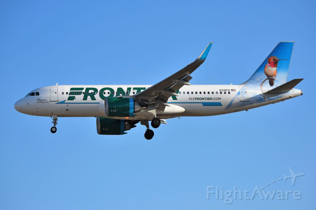 Airbus A320 (N318FR) - Landing 5-R on 02-16-19