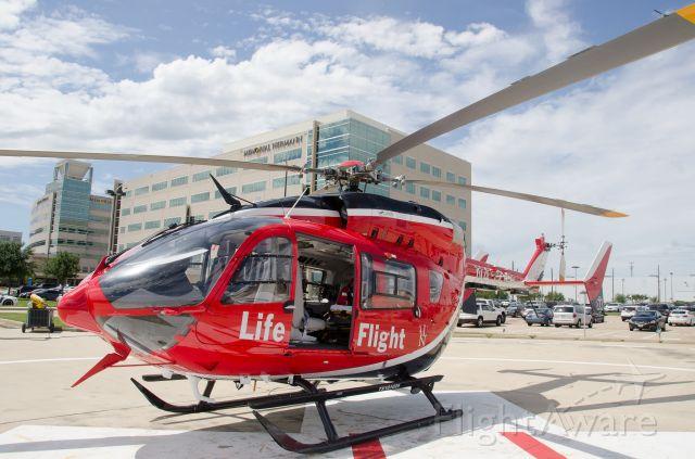 KAWASAKI EC-145 (N452MH) - Memorial Hermann Life Flight on the pad at MH Katy Hospital