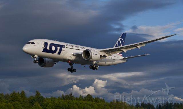 Boeing 787-8 (SP-LRD) - Returning from a test flight early evening 6.12.13