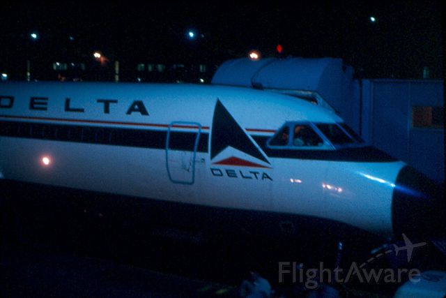 — — - Nite shot of Delta Convair 880 at pier C, KBWI.  Circa 1968-70