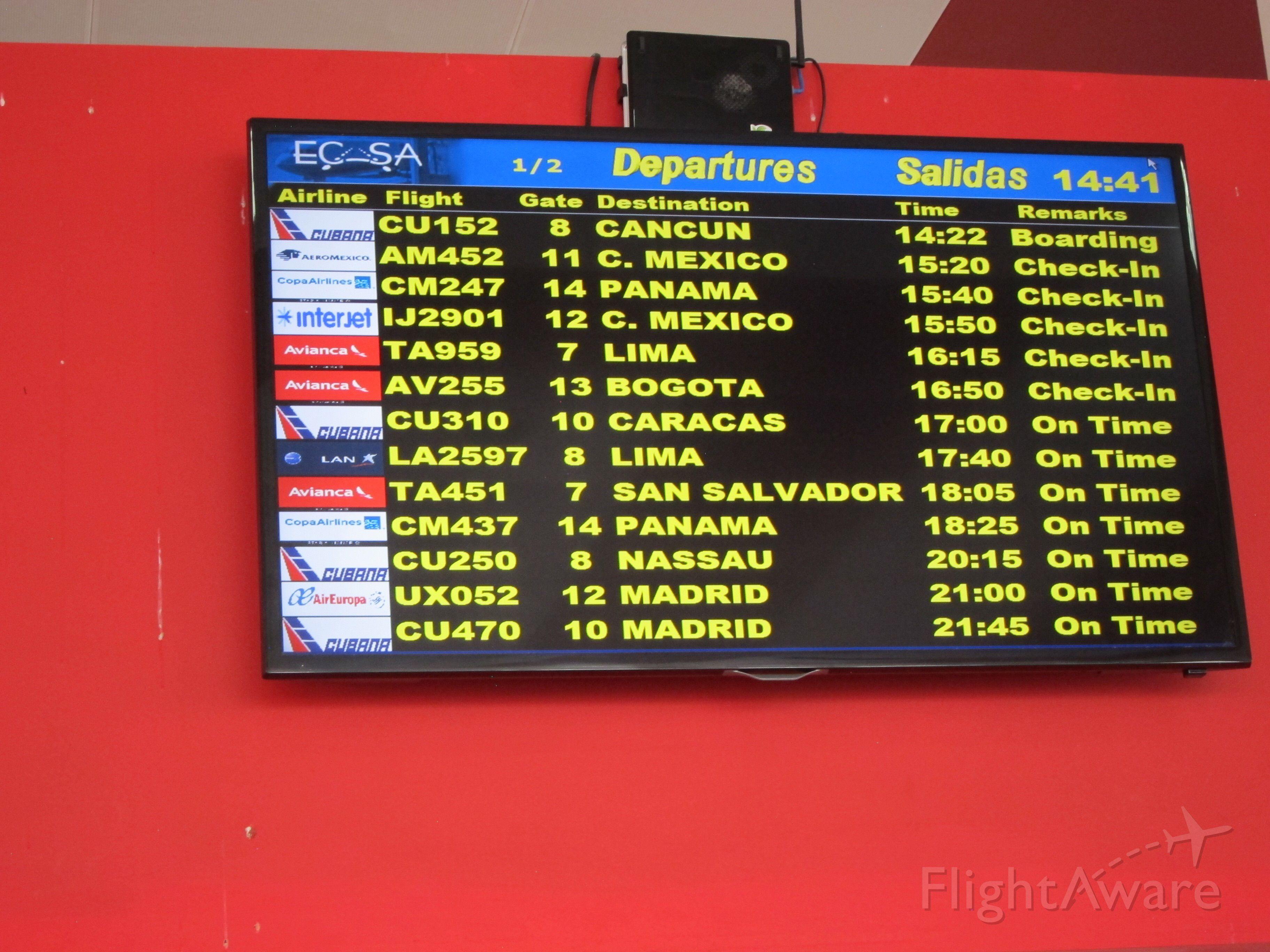 — — - At Jose Marti international airport, Havana, Cuba