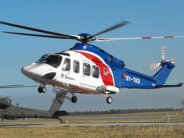 BELL-AGUSTA AB-139 (9Y-TKD) - Bristow helicopter departing the pads on a busy helicopter traffic day.