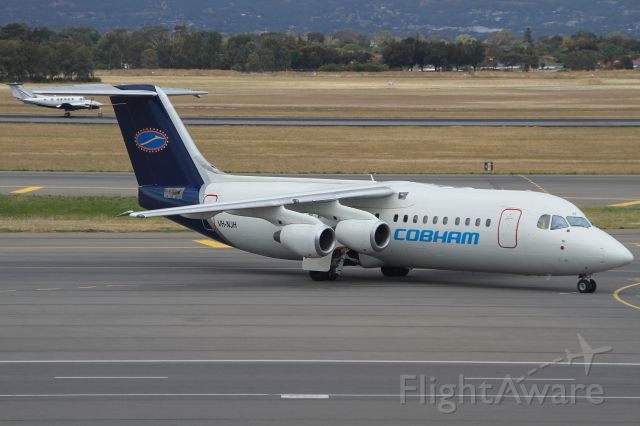 Avro RJ-100 Avroliner (VH-NJH) - The newest addition to the Cobham lfeet on Pushback ready for its flight up to Moomba