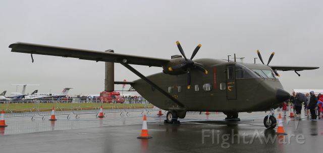 Short Skyvan (G-PIGY) - Short Skyvan of Invicta Aviation stands in the rain at R.A.F. Waddington air show.