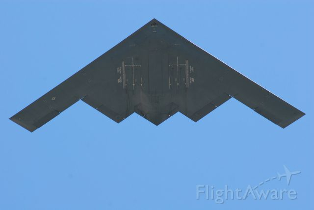 """Northrop Spirit (82-1066) - B-2 """"Spirit of America"""" flying over the Liberty Memorial in downtown Kansas City on April 6, 2017. This flyby took place at the end of the Centennial Commemoration of the U.S. Entry into World War I, at the National WWI Museum and Memorial."""
