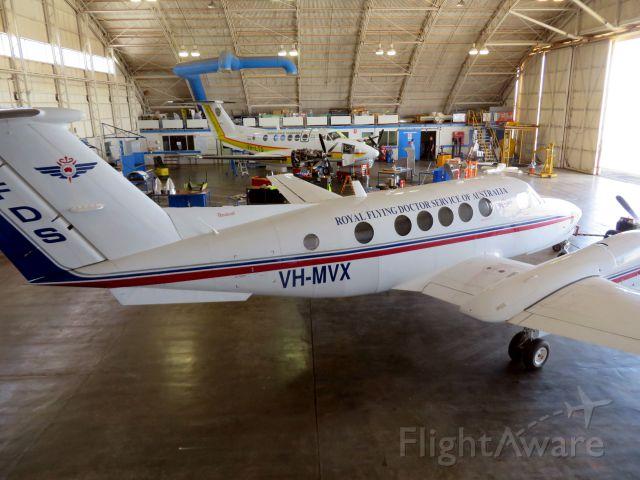 Beechcraft Super King Air 200 (VH-MVX) - In the Flying Doctor hangar at Broken Hill