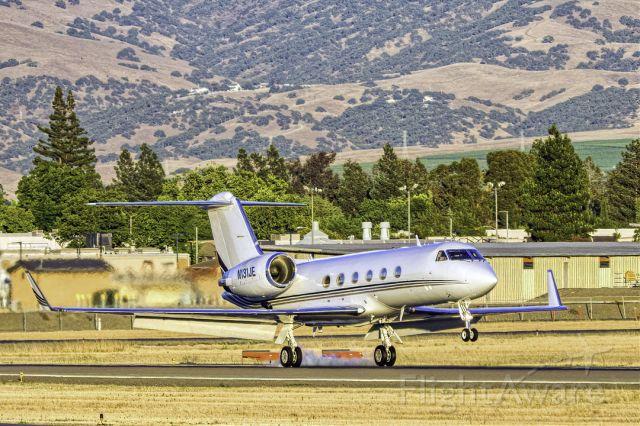 Gulfstream Aerospace Gulfstream IV (N131JE) - Gulfstream Aerospace G-IV arrives at Livermore Municipal Airport (CA). June 2021