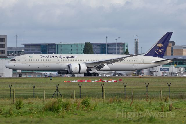 Boeing 787-9 Dreamliner (HZ-ARA) - Saudia 123 on the roll out after landing on the flight from Jeddah.