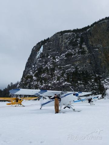 Piper PA-12 Super Cruiser (N61465) - In front of Mt. Kineo on Moosehead Lake, Maine.