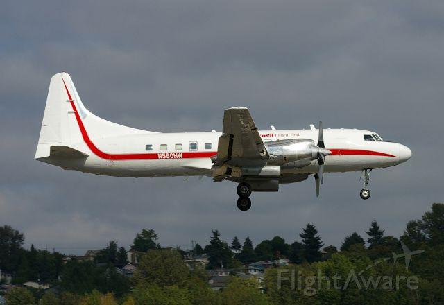 N580HW — - Oldest flying Convair, N580HW, seen performing a missed approach at KBFI.