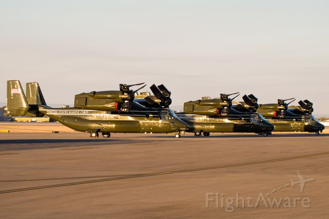 """Bell V-22 Osprey (16-8332) - Three Marine MV-22Bs sitting in the Idaho Sunirse.  These came from Roseburg when Pres. Obama went to visit the shooting site.  168306 and 168284 behind. Full Photo: """"a rel=nofollow href=http://www.airliners.net/photo/2719478/L/http://www.airliners.net/photo/2719478/L//a"""