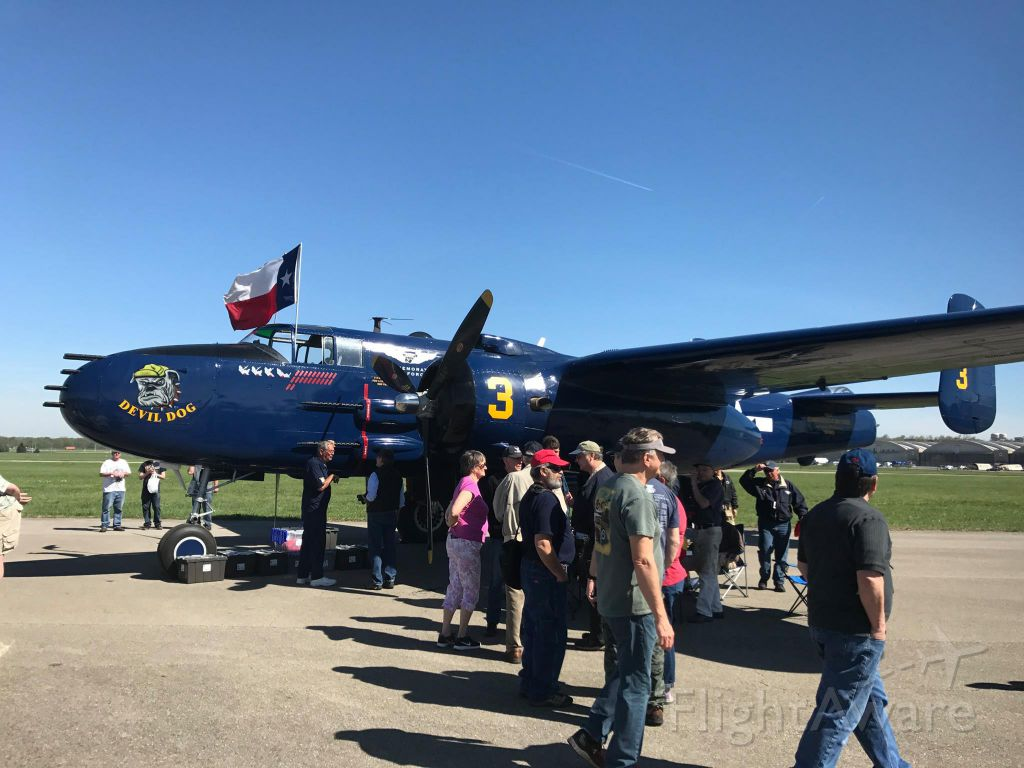 North American TB-25 Mitchell — - One of 11 B-25s at the 2017 Doolittle Raid Memorial in Dayton, National Museum of the US Air Force.<br /><br />The fly-over was great, and Mr. Cole, the last survivor at 101 yrs. old, was there too.