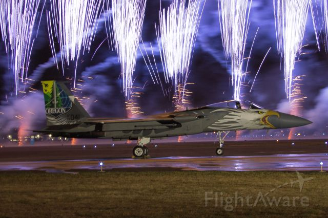 McDonnell Douglas F-15 Eagle (79-0041) - Oregon ANG 75th Anniversary F-15 back dropped by the fireworks show at the end of the first day of the Oregon International Airshow.