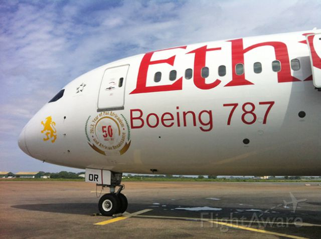 Boeing 787-8 — - Ethiopian Airlines 787 on the apron at Accra, Ghana.