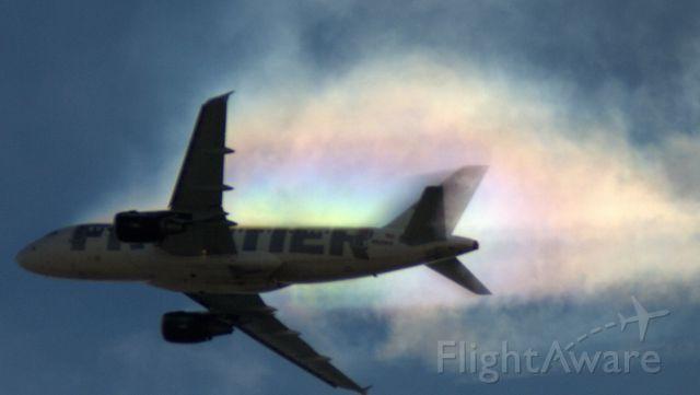 Airbus A319 (N920FR) - Going through a cloud!