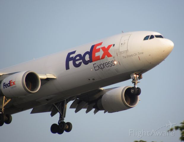 N683FE — - Ready to flare for Runway 28R at PIT on another evening arrival