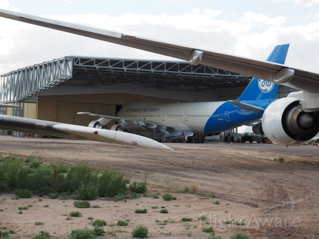 BOEING 747-100 (N747GE) - Photo taken at the PIMA Air and Space Museum March 19,2019.  I don't know if this 747 is going to the boneyard or not.  It has landed at DMA last year in Nov.  Is that a A4 sitting in just behind the wing next to the fuselage. Maybe someone will know the story behind the GE Propulsion Test Platform.<br /><br />Thank you<br />Doug