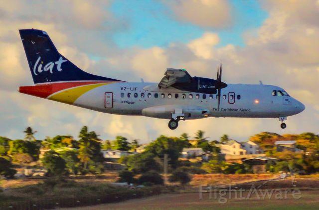Aerospatiale ATR-42-600 (V2-LIF) - LIA726 from Argyle Int'l (St. Vincent) arriving on runway 09.