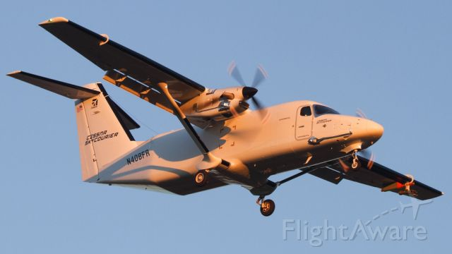 CESSNA 408 SkyCourier (N408FR) - Serial number 408-0001 arrives at Akron Canton just prior to sunset!