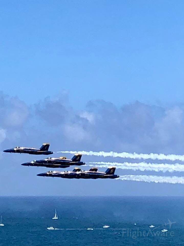 — — - Blue Angles from the 2019 FLL airshow; photo from friend (Rachel - permission granted to share via social media site) and thought too good not to share. Note her view was from ~ 15 floor looking slightly down.
