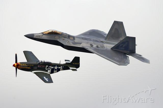 Lockheed F-22 Raptor — - F22 and P51 Mustang - Heritage Flight