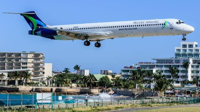 McDonnell Douglas MD-83 (N805WA) - World Atlantic Airlines WAL9701 registered as N805WA inbound for landing over maho beach on a repatriation flight.