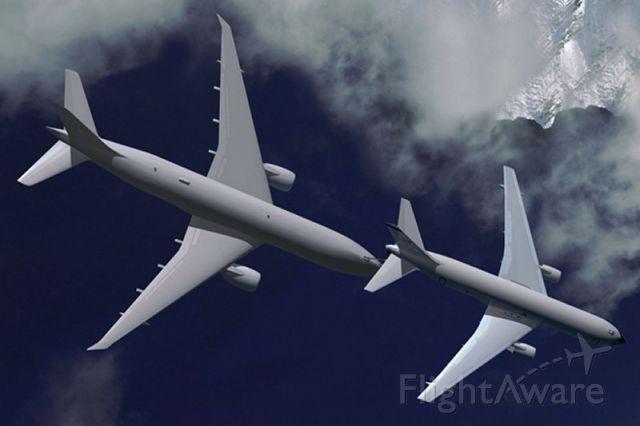 — — - KC-767 refuels a KC-777.