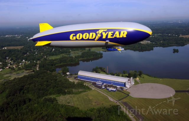 N1A — - Wingfoot One, Goodyears newest model airship, flies above its base at Wingfoot Lake in Suffield, Ohio