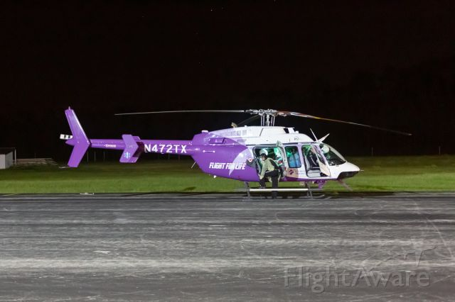 Bell 407 (N472TX) - Transporting a COVID-19 patient from Nacogdoches early in the pandemic (April 10, 2020).