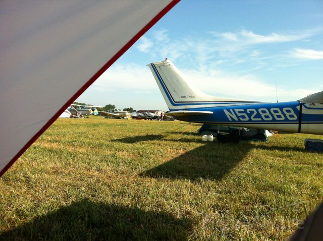 Cessna Skylane (N52888) - Not a bad view out of the tent from GAC at EAA AirVenture 2012