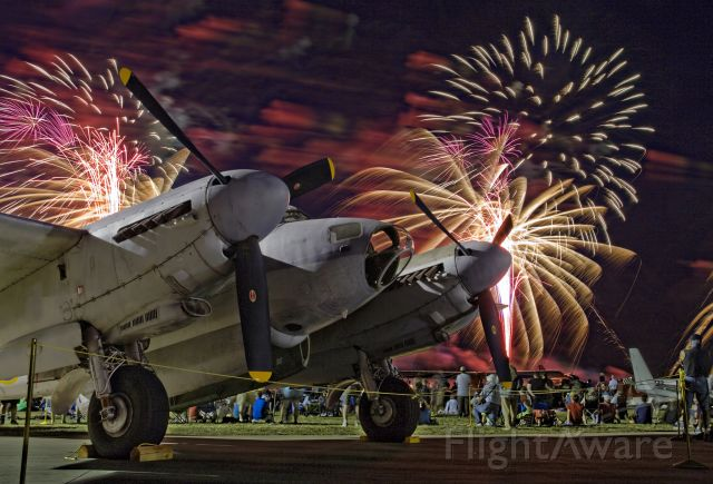 De Havilland Mosquito (N35MK) - Fireworks at AirVenture 2015 in Oshkosh, Wisconsin. This Mosquito is owned by Kermit Weeks and is on long-term loan to the EAA Aviation Museum.
