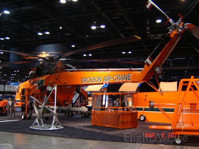 "Sikorsky CH-54 Tarhe (N158AC) - ""Goliath"" S/N 64081 on display at the Erickson Air-Crane booth,Heli Expo 2011 Orange County Convention Center Orlando, Florida"
