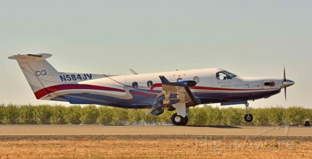 Pilatus PC-12 (N584JV) - Touching down at the Merced Regional Airport