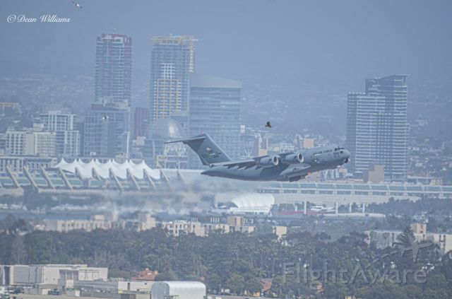 Boeing Globemaster III — - 21st AS C-17 lifting off of RWY18 at KNZY after a 4 hour turnaround time.