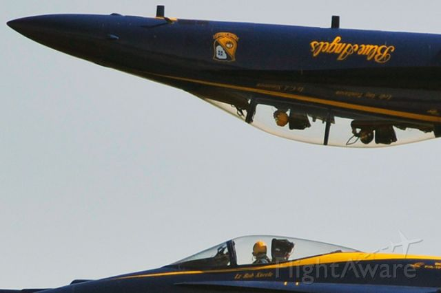 — — - A lucky photographer in the rear seat of Blue Angel #7 taking photos while inverted over Blue Angel #3 (#1 and #2 out of frame) at the practice show at Homestead Air Reserve Base, Florida on November 5, 2010.