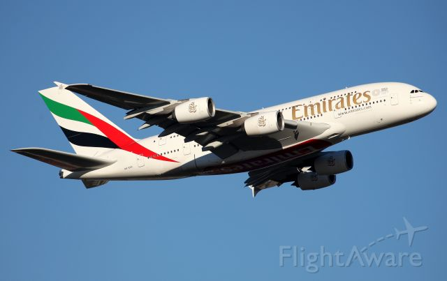Airbus A380-800 (A6-EUL) - Climbing from Rwy 34L