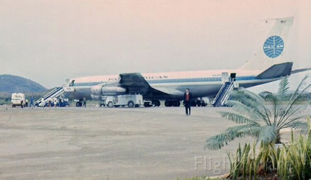 Boeing 707-100 (N409PA) - B707-321B Clipper Eclipse - At one of many island stops on the way to Australia - 1968