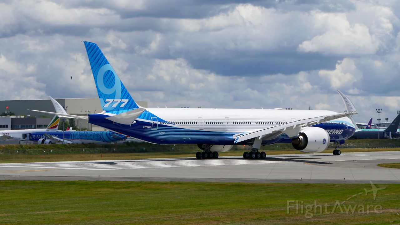 BOEING 777-9 (N779XW) - BOE001 did it's first taxi / brake tests on 6.20.19. at Paine Field. (B777-9X / ln 1567 / cn 64240).
