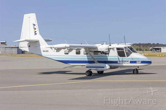 GAF Searchmaster (VH-ATO) - Very rare visit from Bayswater Road Aerial Surveys/Australian Aerial Mapping (VH-ATO) GAF N22C Nomad at Wagga Wagga Airport.
